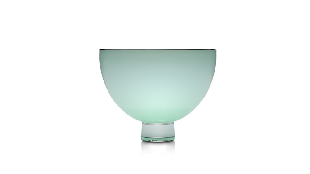 Celadon hand blown, collectors, art glass limited edition glass bowl