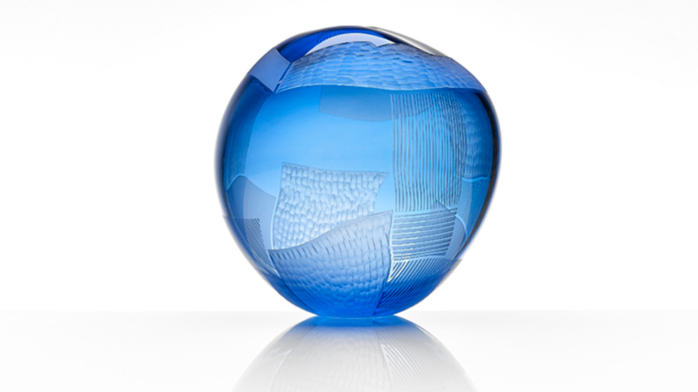 Landscape Study Hand Blown original work, asymetrical spherical form, engraved art cameo glass