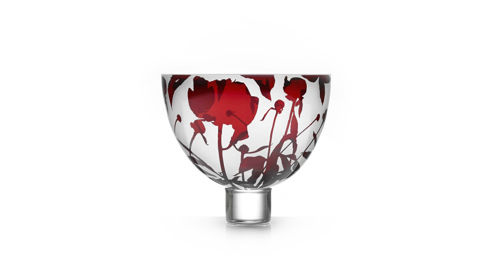 Peony Bowl, hand blown, collectors, art glass limited edition engraved glass bowl in garnet red