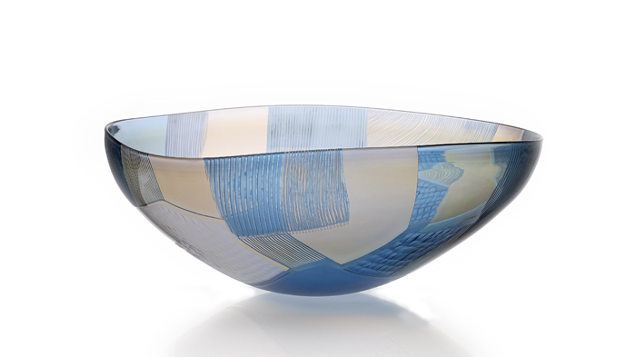 Landscape Study, blown & engraved glass Blue over Gold 2015