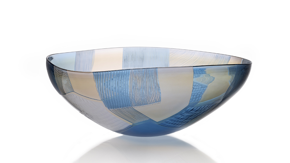 Landscape Study Cameo Engraved Art Blown Glass, Blue over Gold. Made by Gillies Jones 2015