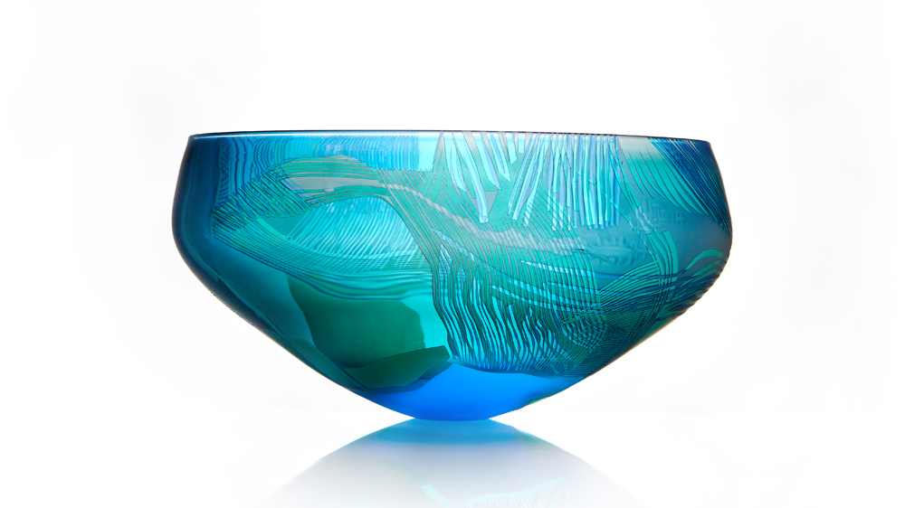 Landscape Study of the North York Moors, Blue over Green, Cameo, Engraved, Hand Blown Glass Bowl
