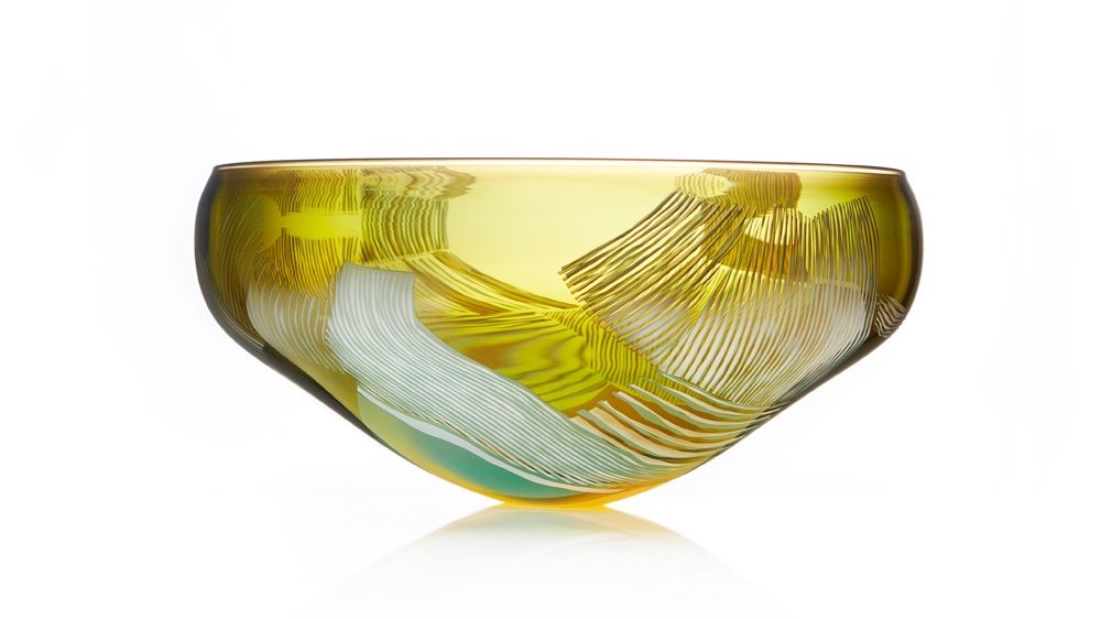 Landscape Study gold over green art glass, hand blown Swedish bubble overlay cameo bowl. Made by Gillies Jones