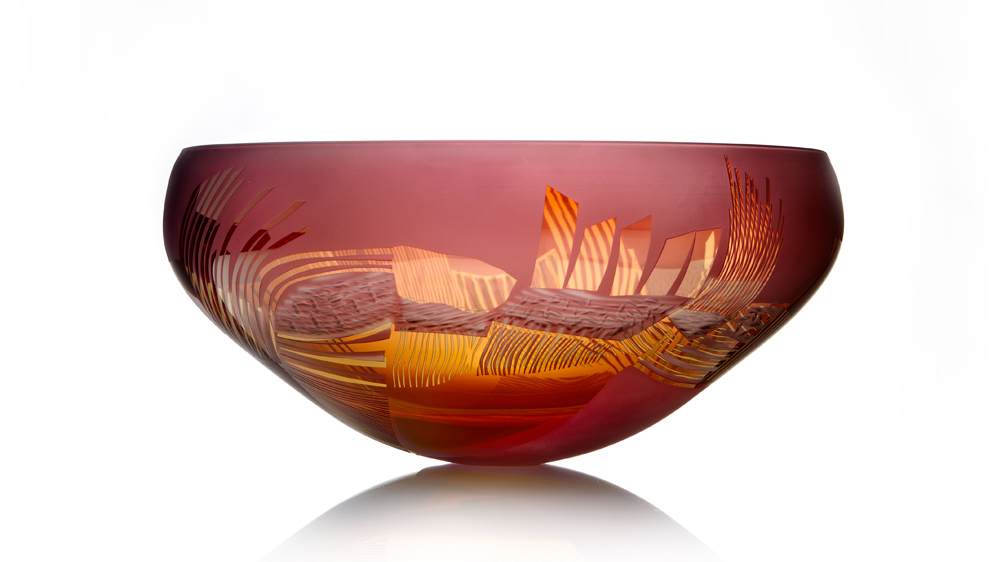 Landscape Study, Hand Blown, engraved, art glass, gold & heliotrope