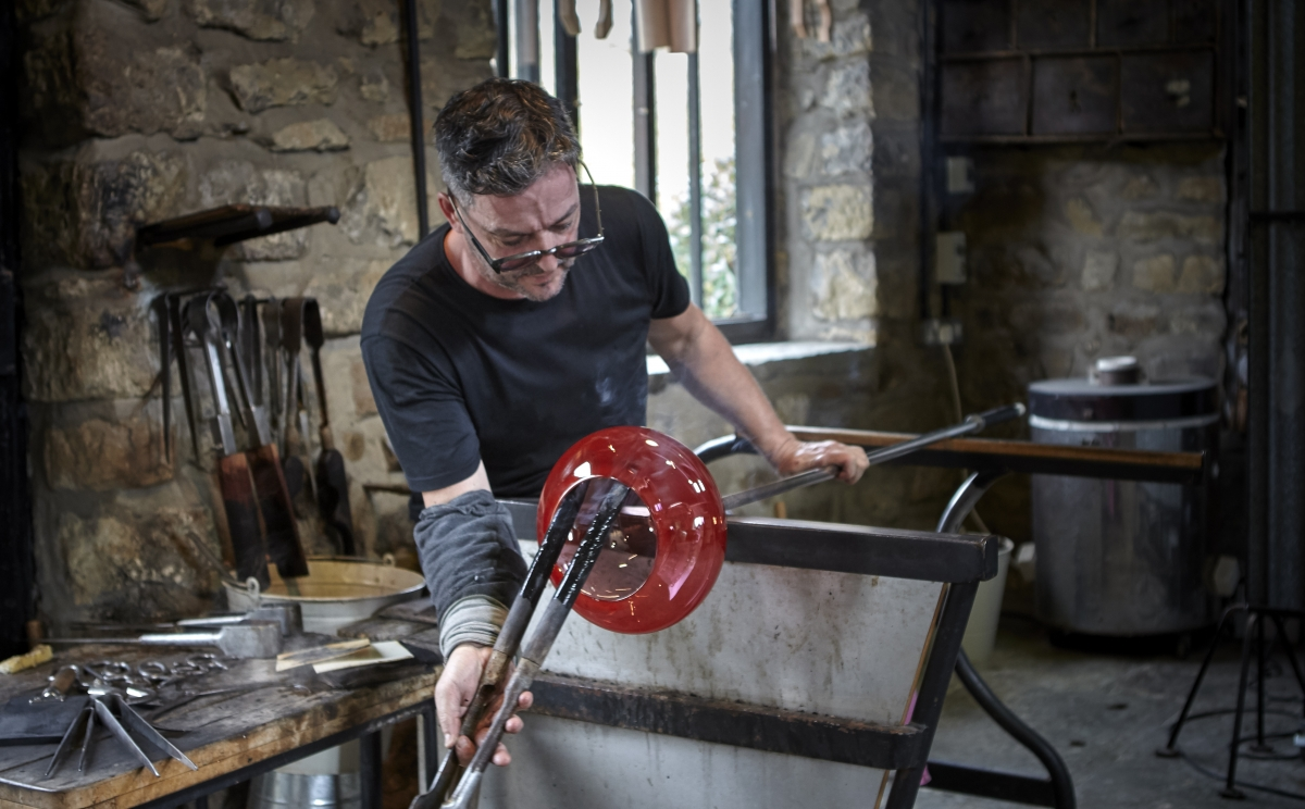 Making an overlay bowl is a demanding process, success relies on skill and timing.